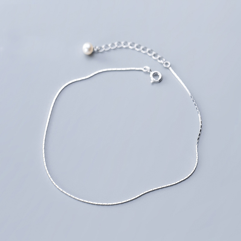 MloveAcc 100% 925 Sterling Silver Snake Chain Pearls Anklets for Women Fashion Silver 925 Jewelry Wholesale