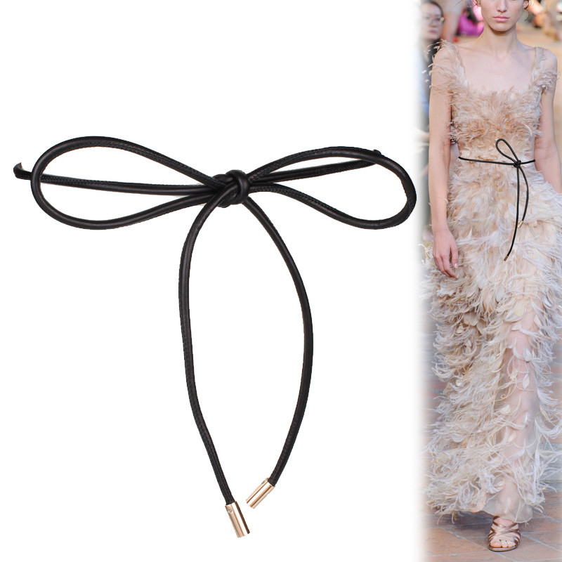 New Soft Genuine Leather Long Belts Women Lambskin Real Sheep Leather Thin Cummerbund Big Bow Knotted Sheepskin Waistbands Dress