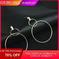 CARTER LISA personnalité géométrique grand rond boucles d'oreilles pour femmes métal cercle pendentifs balancent boucles d'oreilles oreille bijoux kolczyki
