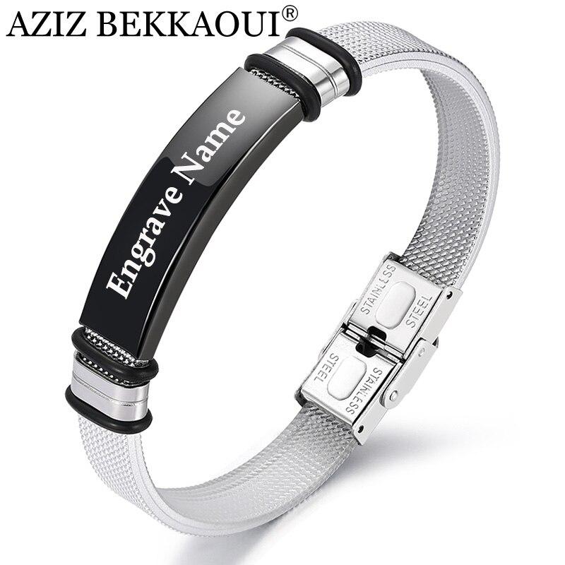 AZIZ BEKKAOUI Black Fashion Engrave Name Bracelet For Men DIY Smooth Leather Bracelet Leather Bracelets Jewelry As Decorations