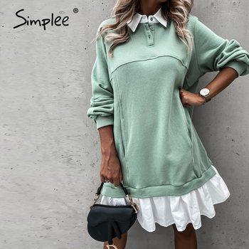 Simplee Casual Ruffle Dress Long sleeve loose straight dress Autumn Street Lapel fashion dress Fake two piece comfortable dress 1