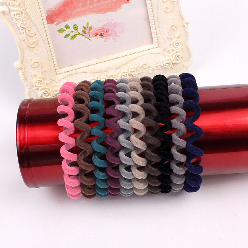 1PC Flannel Cloth Telephone Wire Hair Ring Spiral Elastic Hair Rubber Bands Candy Color Women Hair Accessories Girls Headwear