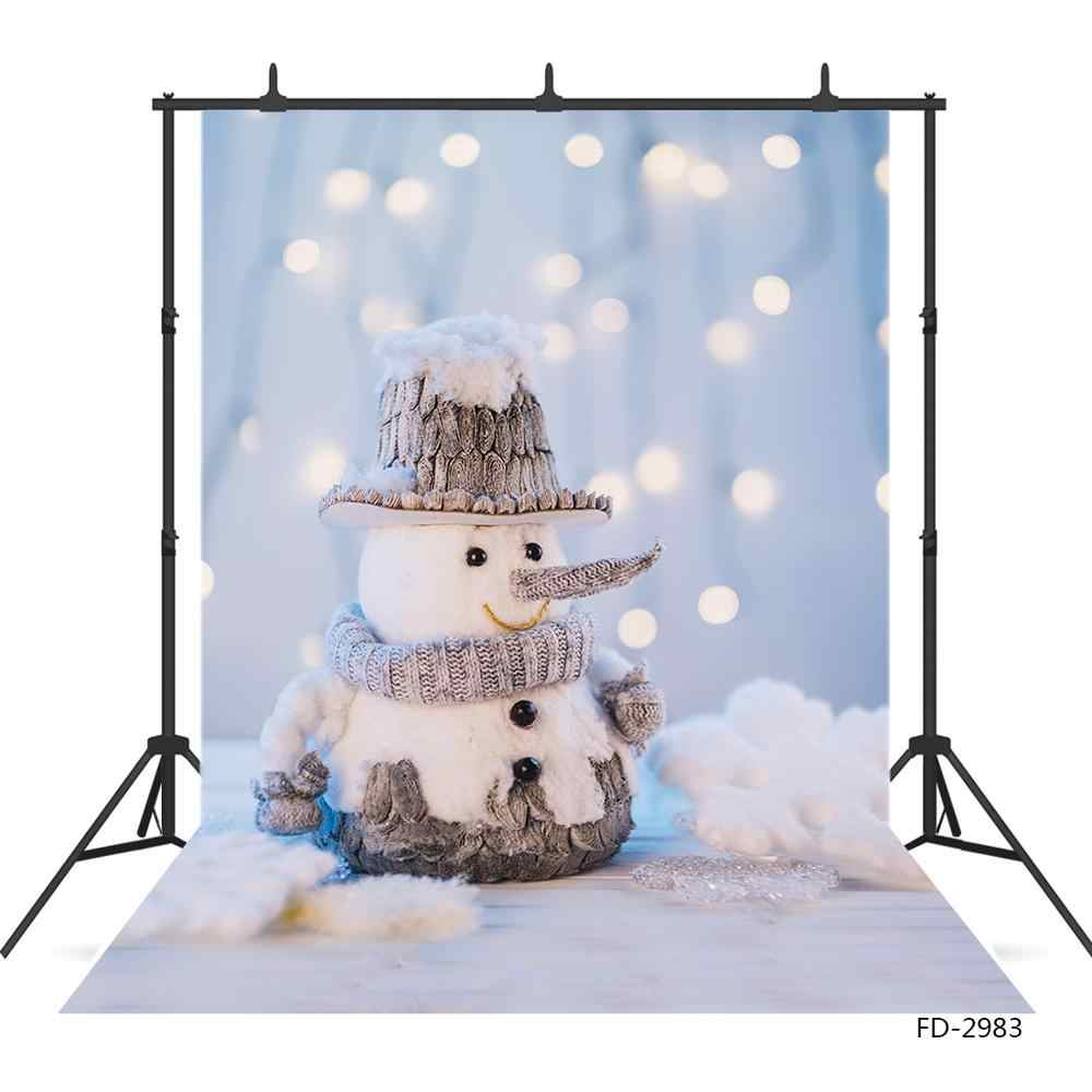 Snowman Flare Bokeh Christmas Photo Backdrop Vinyl Cloth Photography Background for Children New Born Baby Party Photoshoot