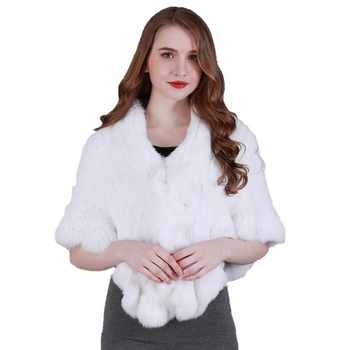 FXFURS 2020 Handmade Fur Cape Knitted Rabbit Fur Shawl Genuine Rabbit Fur Cloak Cape Bride Fur Cape Women