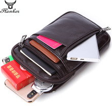 Flanker men small waist packs genuine leather casual crossbody bags with zipper pocket shoulder messenger bag 7 cell phone