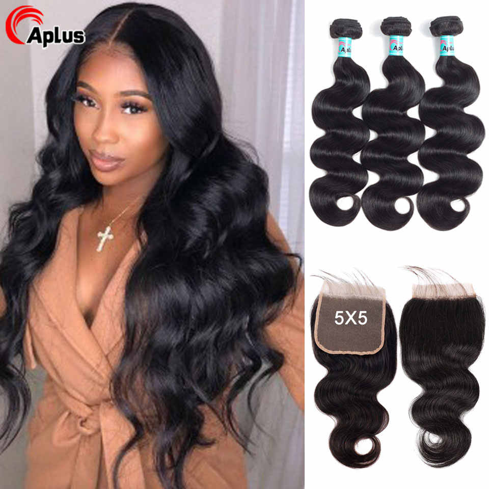 Aplus Hair 3 body wave bundles with Closure Free Part Double Weft Brazilian Human Hair Weave Bundles With Closure Remy Hair