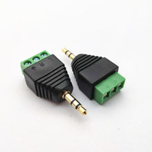 3.5MM gold-plated two-channel audio headphone plug stereo adapter free soldering green terminal(China)