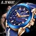 LIGE часы для мужчин спортивные водонепроницаемые аналоговые кварцевые мужские часы с хронографом бизнес часы для мужчин Relogio Masculino + коробка