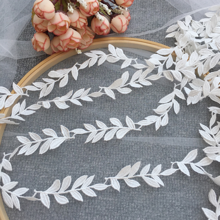 1Yard White Leaf Embroidered Lace Edge Trim Ribbon Wedding Applique Sewing Craft