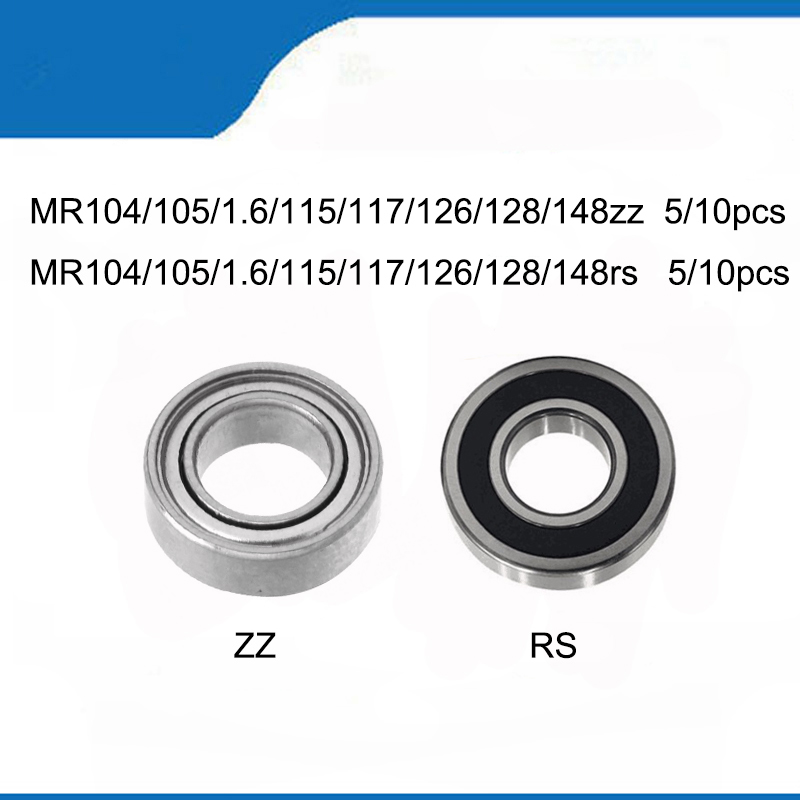 5/10pcs Machine Bearing MR148zz RS MR126zz MR106zz MR104ZZ MR105RS MR117zz MR115zz MR128rs Dental Grinding Handle Ball Bearings