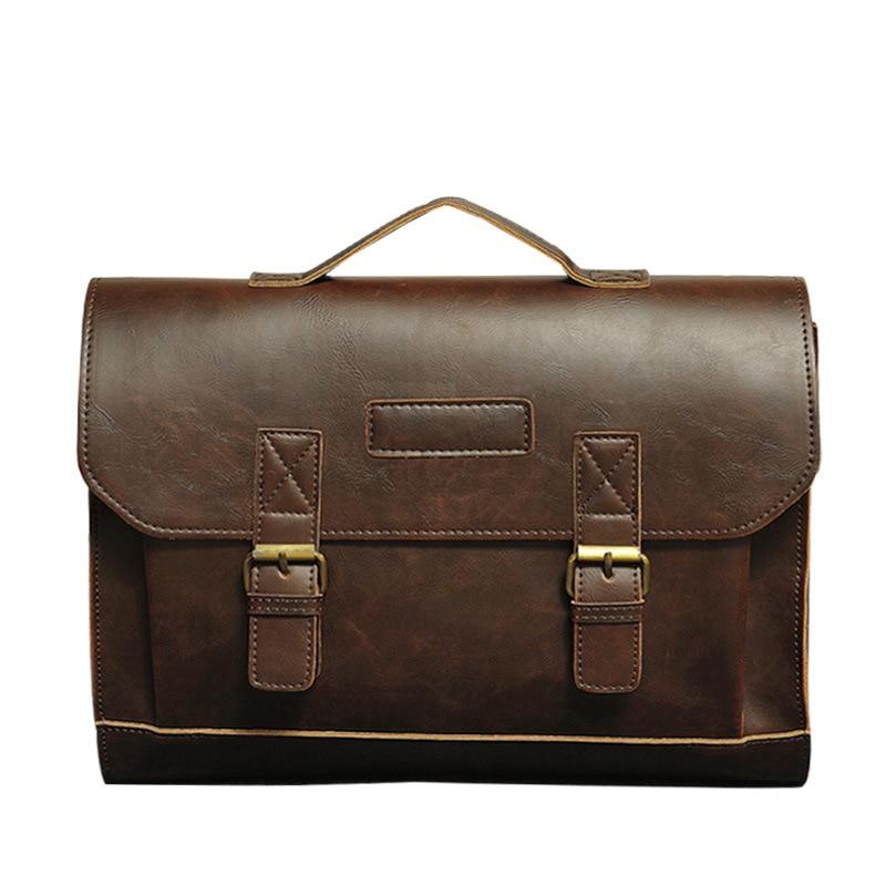 Sewing Line Briefcase Classic Fashion Men's Handbag Business Trend PU Men Bag Shoulder Bags