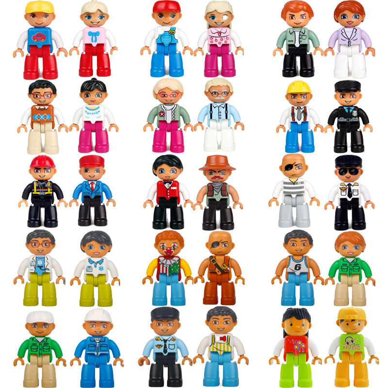 Hot Sale Legoing Duplo Figures Farm Action Figures Compatible Blocks With Family Police Building Blocks Education Toys For Baby
