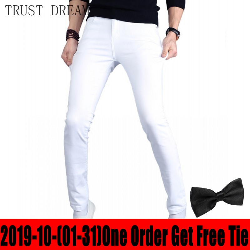 Fall Winter Classic Young Man Casual Stretch Jeans Skinny Solid White Men Slim Quality Denim Pants Male StreetWear Warm Fleece
