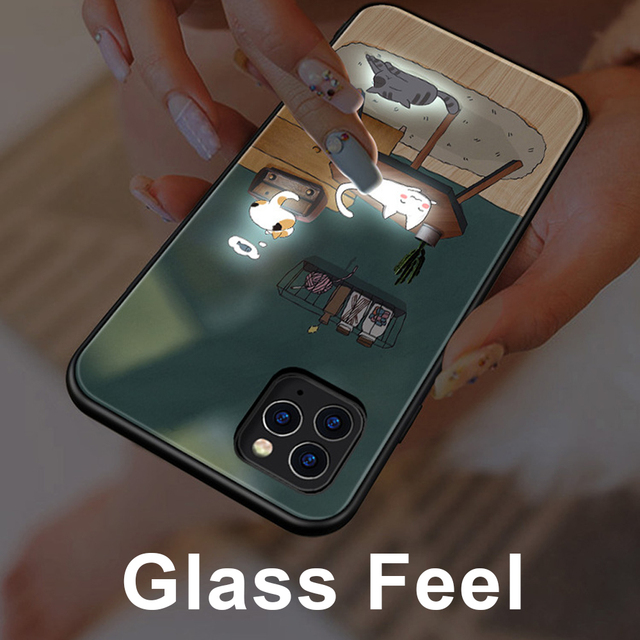 Phone Case For iphone11 /11 pro /11 pro Max Tempered Glass Craft Flash Sound Control Light Incoming Call Flash For iPhone Case 6