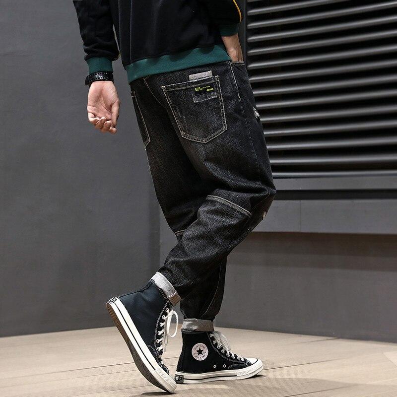 Japanese Style Fashin Men Jeans Vintage Designer Ripped Jeans Homme Spliced Retro Black Harem Pants Streetwear Hip Hop Jeans Men