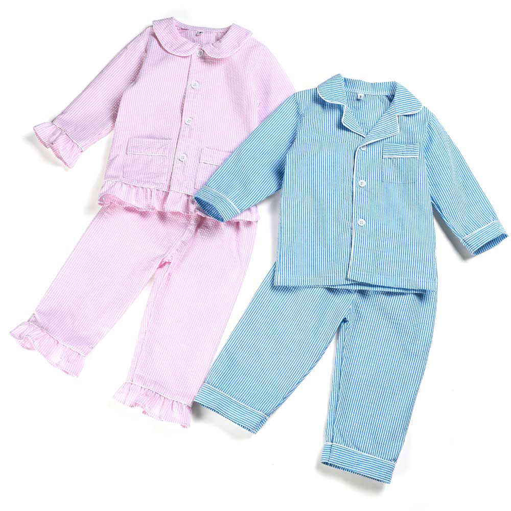 Winter Spring Baby Toddler Girls Boy Family Matching 100 Cotton Seersucker Pjs Kids Sleepwear Pajamas Set