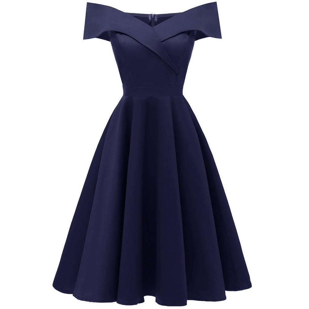 Off Shoulder Ruffles Office Dress Women A-line Draped Prom Party Dresses Spring Summer 2020 Dark Blue Midi Robe de soiree