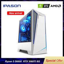 IPASON – PC de jeux, modèle Battlefield S5, AMD R5 5600X, RTX3060TI, 8 go/500 go, SSD M.2, 16 go de RAM DDR4, ordinateur de bureau pour e-sport