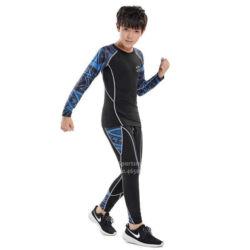 أطفال الجري ملايس الركض الرجال التدريب اللياقة البدنية الجوارب الأطفال كرة السلة ضغط رياضية الرياضة طماق الصالة الرياضية الملابس مجموعة