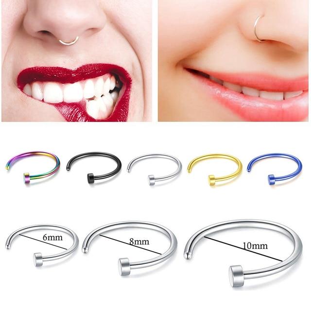 New Medical Titanium Punk Clip on Fake Piercing Body Nose Lip Rings Unisex Nose Ring Women Septum Piercing Jewelry