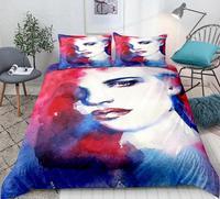Art Bedding Set Character avatars Duvet Cover Set Colorful Native Bedclothes Watercolor Vintage Home Textiles 3pcs
