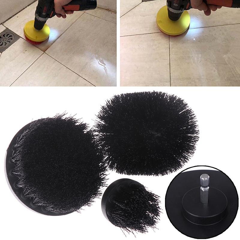 1/3Pcs Black Electric Floor Cleaning Brush Drill Power Tool For Removing Stubborn Stains On Stone Mable Ceramic Tile Black