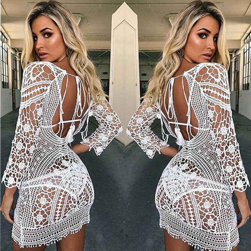 Sıcak Mayo kapak kadın beyaz dantel tunik plaj elbise elbise backless mayo Tığ Bikini yüzme plaj kıyafeti