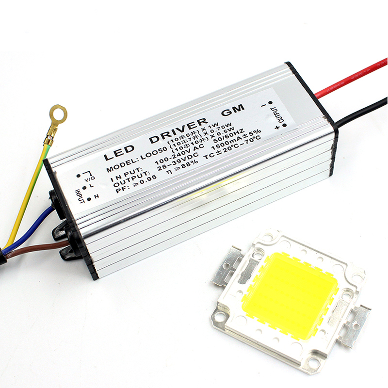 Real Watt LED 10W 20W 30W 50W High Power COB LED Lamp Chip & LED Power Supply Driver 1Set For LED Flood Light