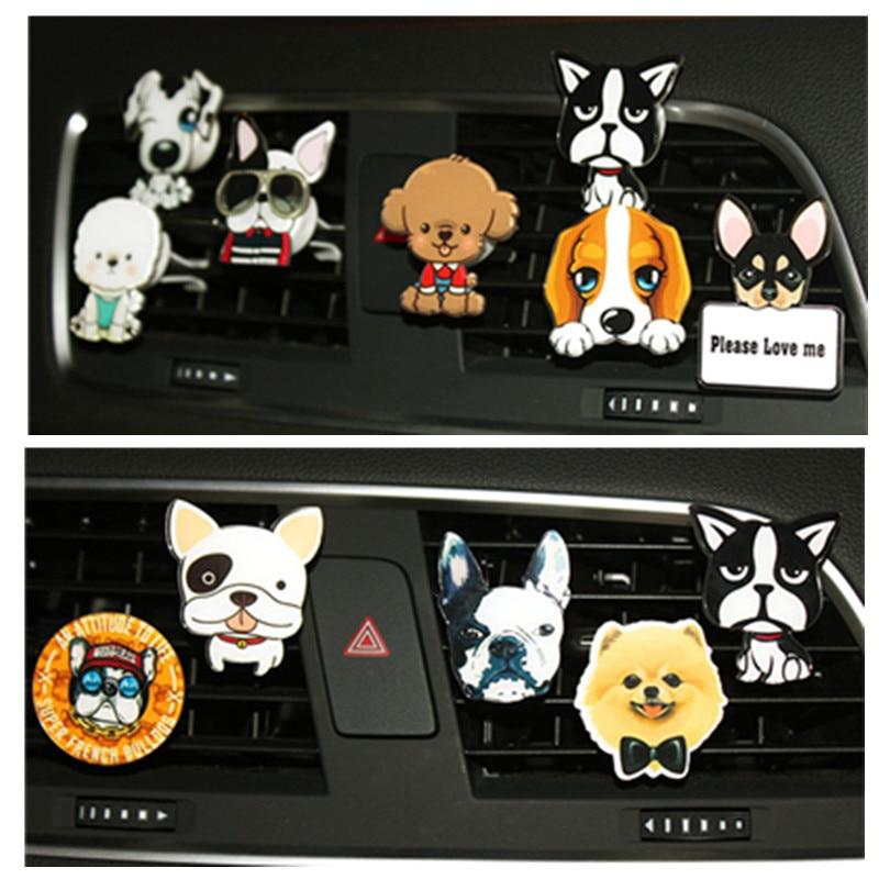 Cute Dog Car Air Vent Clip Charms Cartoon Puppy Interior Car Air Freshener Car Smell Diffuser Decoration Auto Accessories