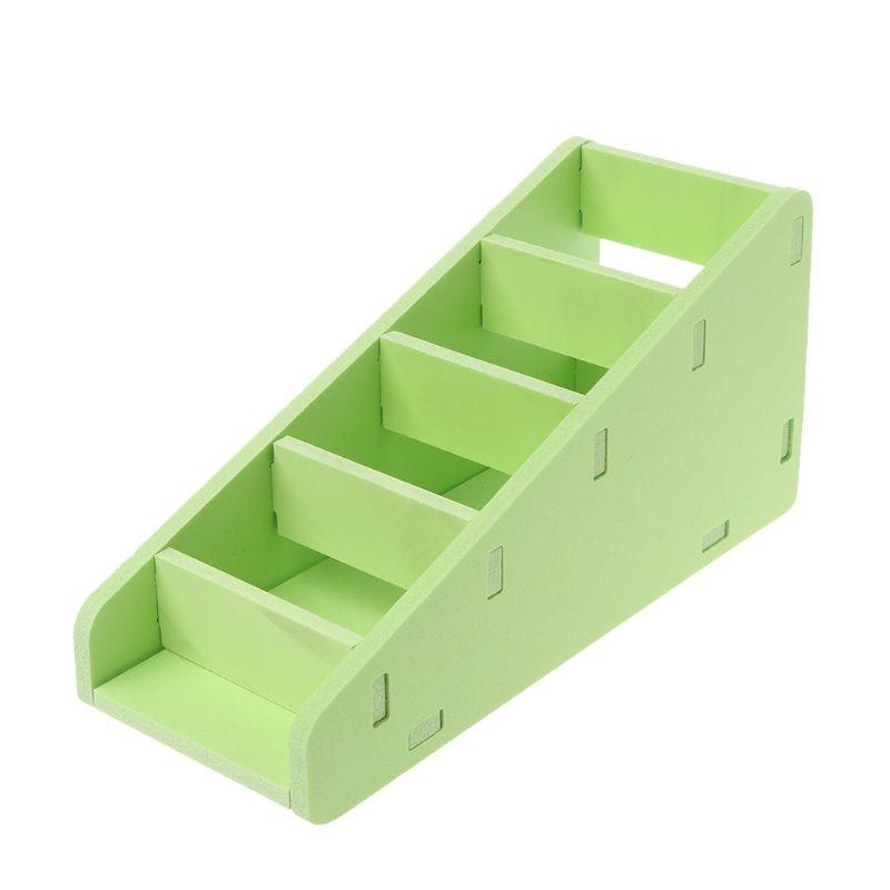 5-Tier Storage Box Shelf Layered Remote Control Holder Wooden Desk Organizer Tray Case Desktop Combination Home Office