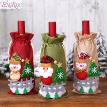 FENGRISE Christmas Wine Bottle Cover Decorations For Home Santa Claus Ornament Table Decor 2019 Navidad Gift
