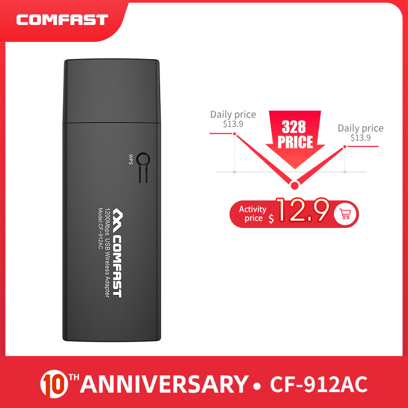 COMFAST WIFI WIRELESS ADAPTER Network-Cards Gigabit Usb-3.0 1200mbps Dual-Band CF-912AC title=