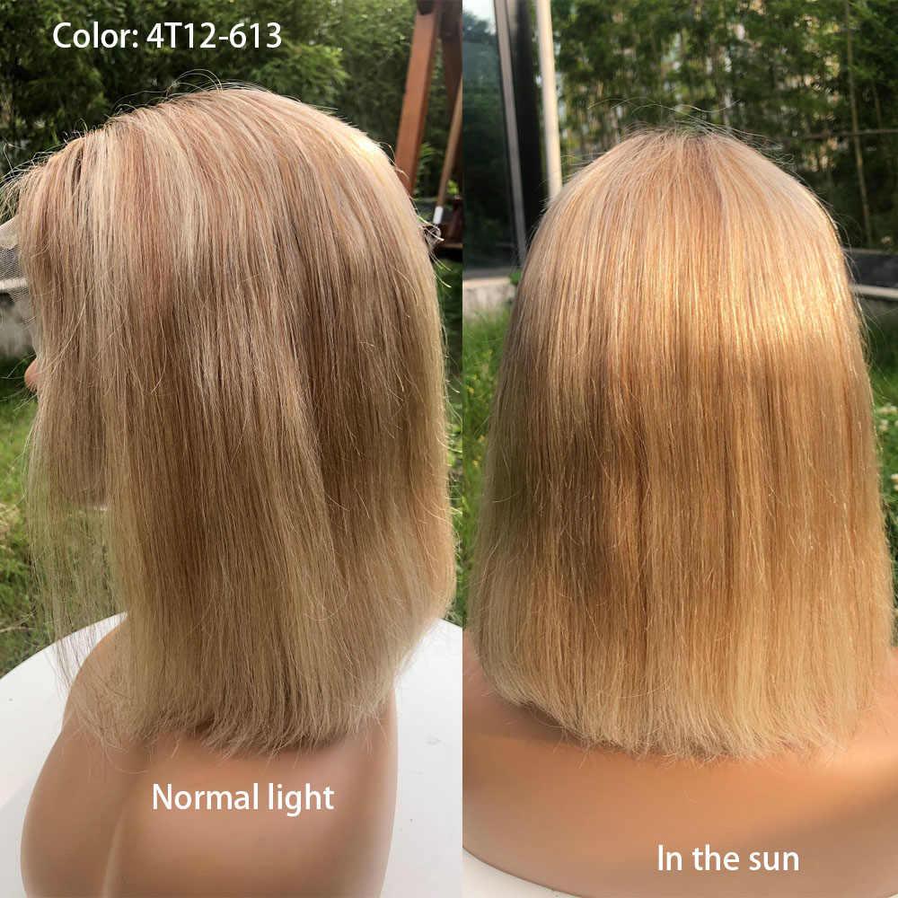 Highlight Kurze Bob Perücke U Teil Menschliches Haar Ombre 4x4 Verschluss Bob Perücken Farbige Pre Gezupft Glueless Remy mit Baby Haar Für Frauen