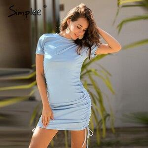 Image 4 - Simplee 半袖女性ボディコン dres カジュアル o ネックレースアップ女性ミニドレス春夏プリーツ女性の鉛筆のドレス新しい