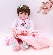 Premie conjunto de vestido de bebê, tamanho do bebê 48cm de corpo inteiro de silicone rosa, porco, bebê, boneca, reborn, boneca à prova d' água, boneca de banho brinquedo gfit natal