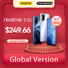[World premiere em estoque] realme 7 5g dimensity 800u 6gb 128gb 120hz display 48mp câmera 5000mah versão global 30w dardo carregador