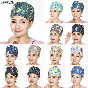 2020 Unisex Scrub Hats Cap Beanie Adjustable Caps Cotton Cartoon Printed Work Wear for Ladies and Men - discount item  30% OFF Hats & Caps