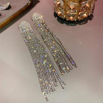 FYUAN Long Tassel Full Rhinestone Drop Earrings for Women Ovsize Crystal Dangle Earrings Fashion Jewelry Accessories 3
