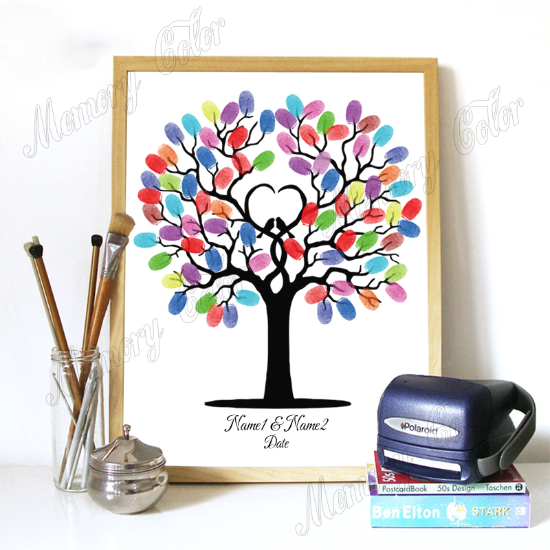 Custom Names Date Wedding Guestbook For Fingerprint Sign Wedding Decoration Fingerprint DIY Tree (1-2 Set Ink Pad Included)