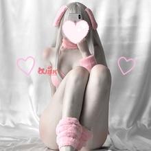 Аниме Косплей Костюм DDLG Банни девушка сексуальный ребенок розовый кролик бикини набор эротический наряд для женщин галстук сторона GString бюстгальтер стринги Kawaii