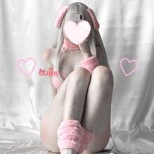 อะนิเมะคอสเพลย์เครื่องแต่งกาย DDLG กระต่ายสาวเซ็กซี่สีชมพูกระต่ายชุดบิกินี่เร้าอารมณ์ชุดผู้หญิง Tie Side GString Bra ทอง Kawaii