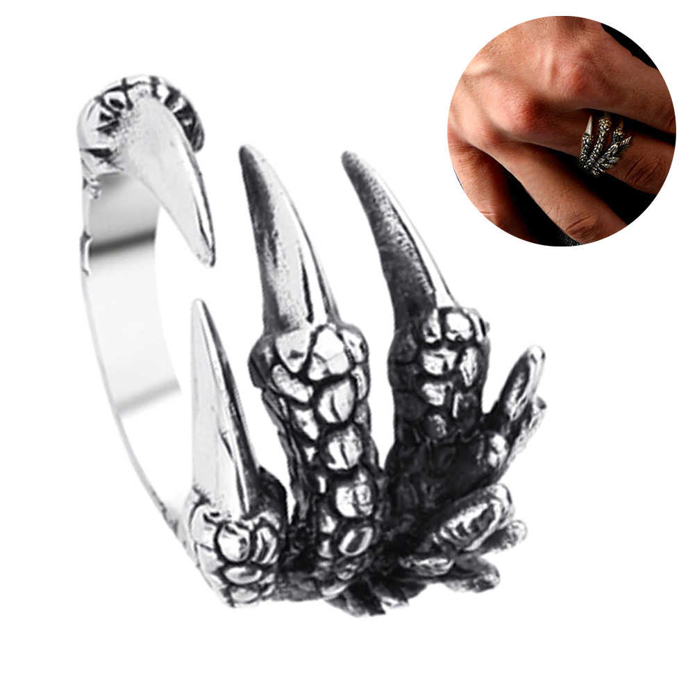Moda Unisex In Acciaio Al Titanio Drago Artiglio Aperto Dei Monili Dell'anello di Barretta del Regalo di Fascino Dell'anello Claw Design charming Dei Monili per gli uomini Fashion2