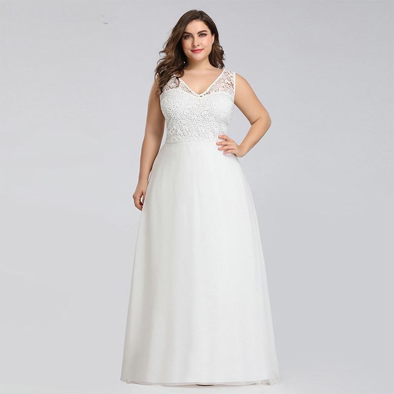 Plus Size Lace V-neck Wedding Dresses A-Line Floor-Length Sleeveless Elegant Wedding Gown Bride Dress Vestido De Noiva