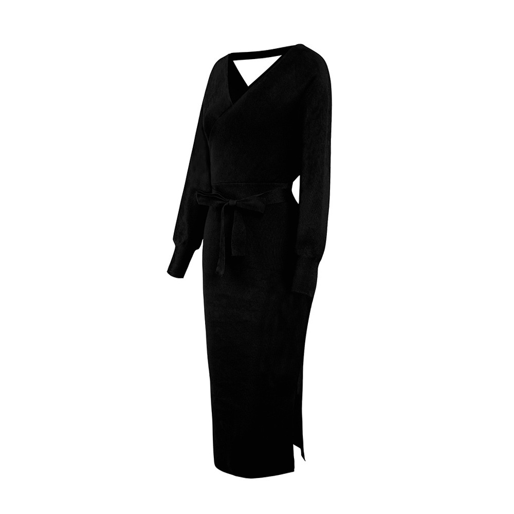 Long Sleeve V Neck With Cross Belt Sweater Knitted Dress 12