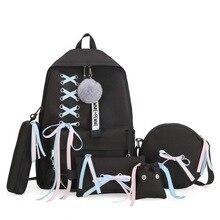 5pcs/set School Bag for Teenage Solid Backpack 2019 Schoolba