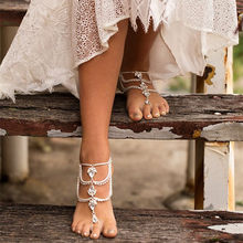 New Luxury Foot Chain Crystal Ankle Bracelet Bridal Beach Wedding Barefoot Sandals Gold Silver Bracelet Women Party Jewelry(China)