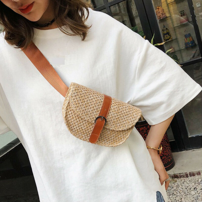 Women Summer Rectangle Straw Shoulder Bags Rattan Bag HandWoven Beach Crossbody Circle Satchel Purse Hot Sale
