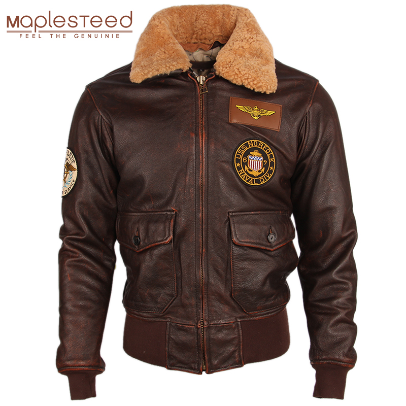 Vintage Distressed Men Leather Jacket Quilted Fur Collar 100% Calfskin Flight Jacket Men's Leather Jacket Man Winter Coat M253