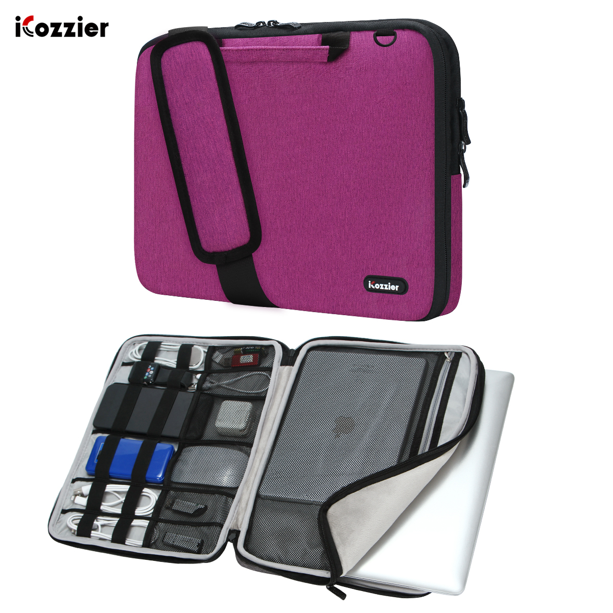 ICozzier 13.3/15.6/17.3 Inch Handle Electronic Accessories Strap Laptop Sleeve Case Bag Protective Bag For 15.6 Notebook