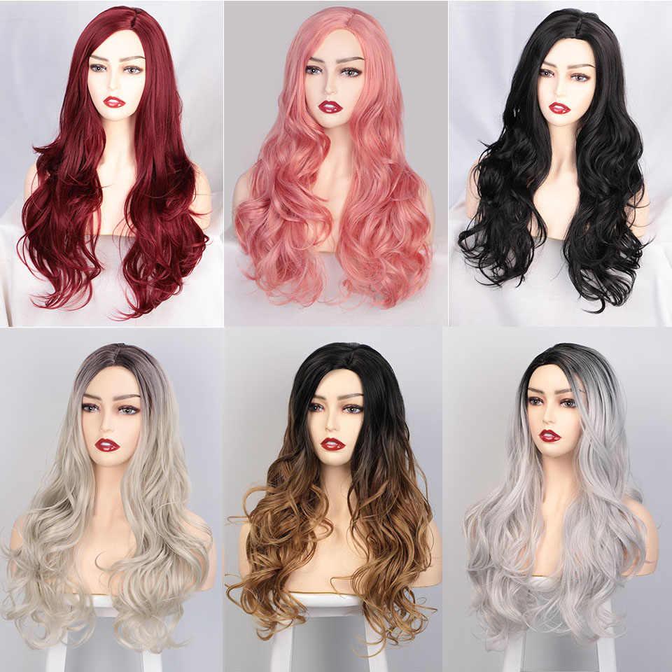 AISI كوينز طويل مموج شعر مستعار اصطناعي شعر مستعار أحمر للنساء تأثيري أسود وردي الباروكات جزئية تقسيم الطبيعية ارتفاع درجة الحرارة الألياف